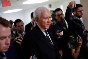 Senator Orrin Hatch (R-UT) speaks with reporters about the withdrawn Republican health care bill on Capitol Hill in Washington, U.S., July 18, 2017. REUTERS/Aaron P. Bernstein - RTX3BYOF