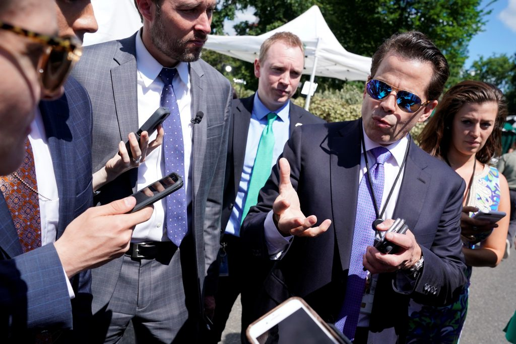 White House Communications Director Anthony Scaramucci talks to the media outside the White House in Washington, U.S., July 25, 2017. REUTERS/Yuri Gripas - RTX3CUHO