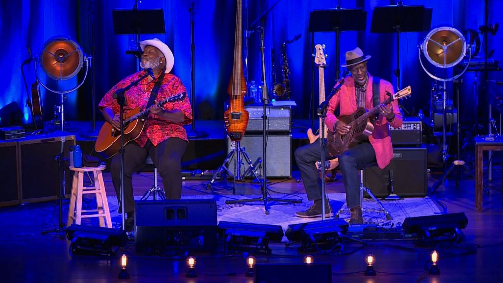 Taj Mahal and Keb Mo perform a song from their new album. Video still by PBS NewsHour.