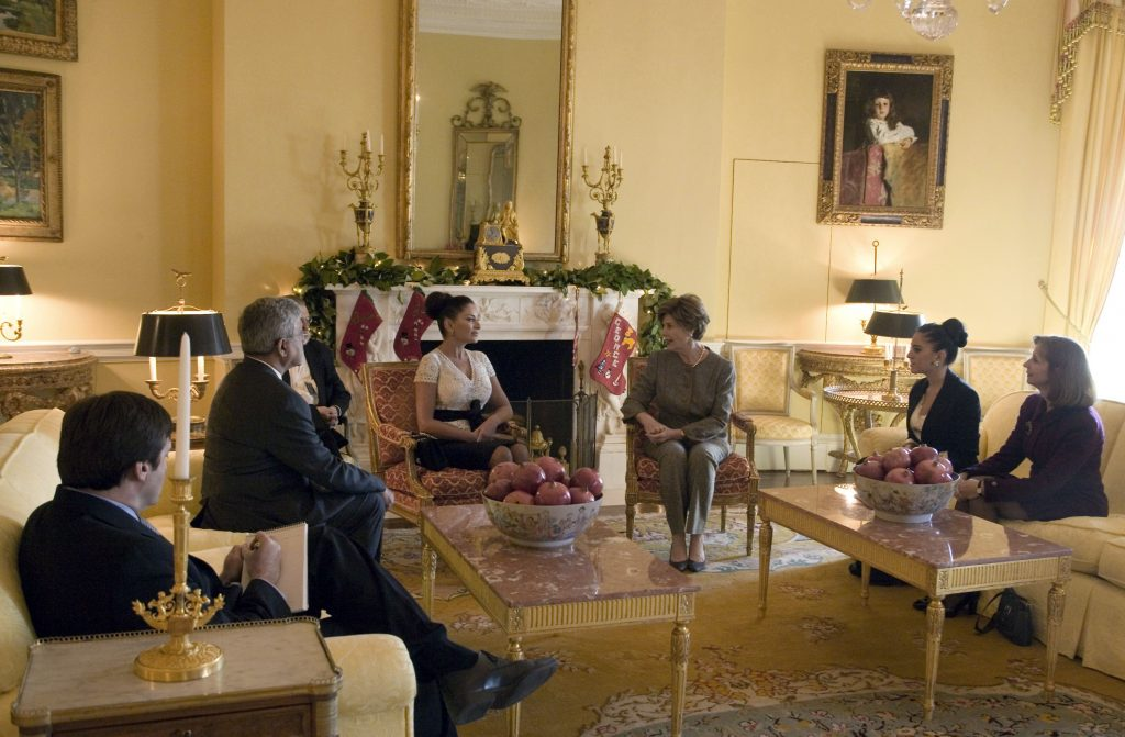 First lady Laura Bush (3rd R) hosts a coffee for first lady Mehriban Aliyeva (3rd L) of Azerbaijan, in the Yellow Oval Room of the White House December 7, 2006 in Washington, DC. (Photo by Shealah Craighead/White House via Getty Images)
