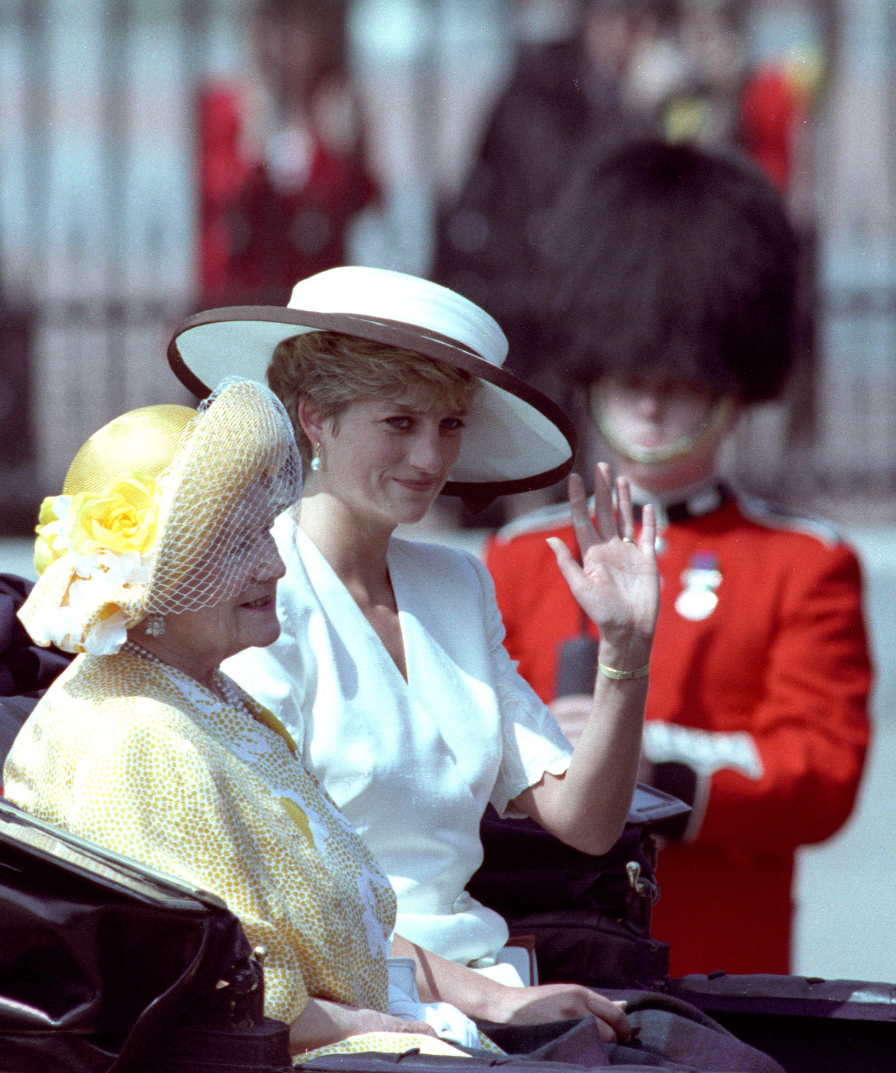 The Princess of Wales and the Queen mother ride in their carriage from Buckingham Palace in London on June 13, 1992. Photo by Kevin Lamarque/Reuters