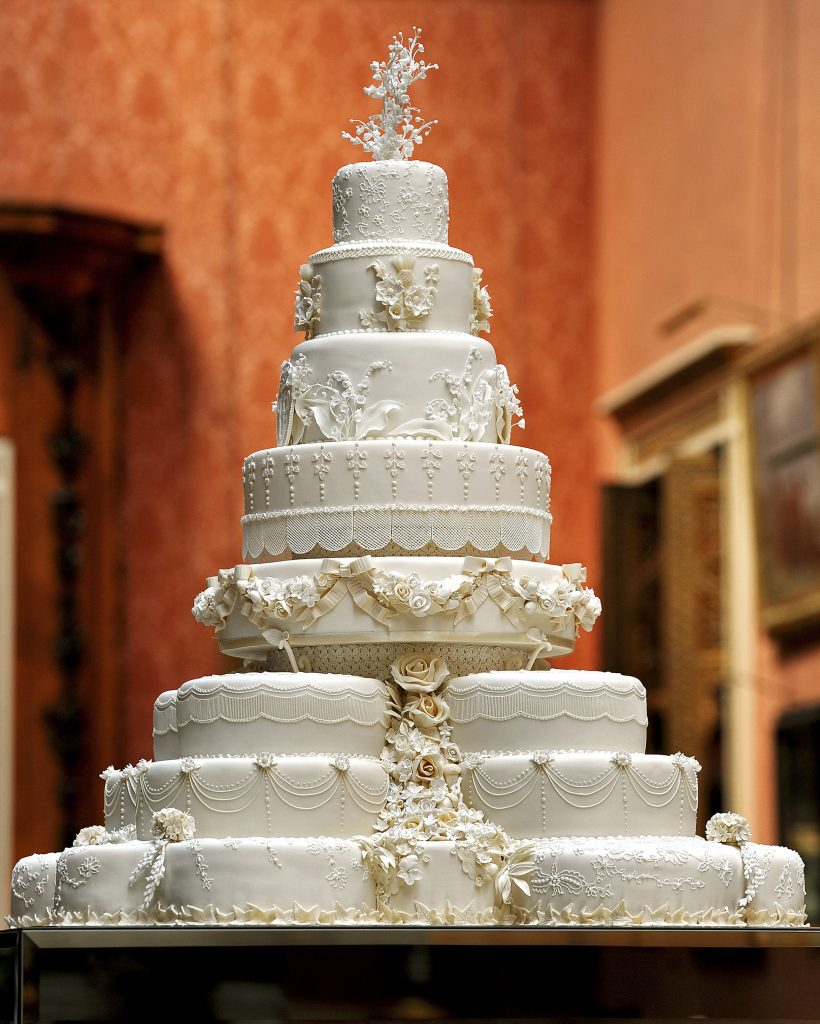 The eight-tiered wedding cake was made by Fiona Cairns and her team. Photo by John Stillwell/Pool via Reuters