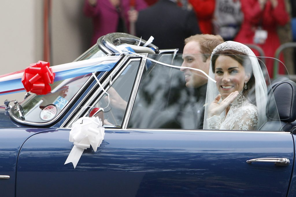 Prince William drives his bride Catherine, duchess of Cambridge, to their reception. Photo by Nir Elias/Reuters