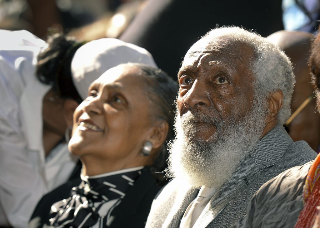 Comedian Dick Gregory and wife Lillian look on as he is honored during his dedication for his star on Star on the Hollywood Walk of Fame in Los Angeles