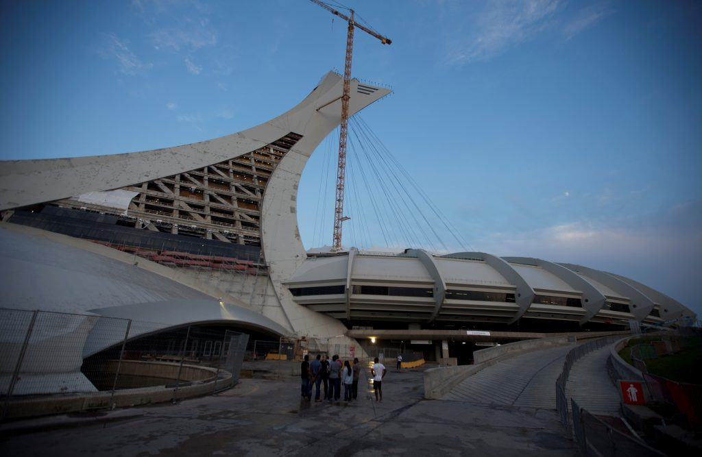 Olympic Stadium in Montreal is being used as temporary housing for asylum seekers. Photo by Christinne Muschi/Reuters