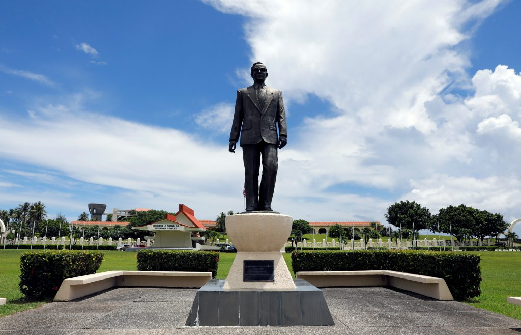 A statue of Guam hero Ricardo Bordallo is pictured at the entrance of the Governor's Complex on the island of Guam, a U.S. Pacific Territory, August 10, 2017. REUTERS/Erik De Castro
