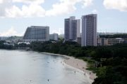 A view of posh hotels in the Tumon tourist district on the island of Guam