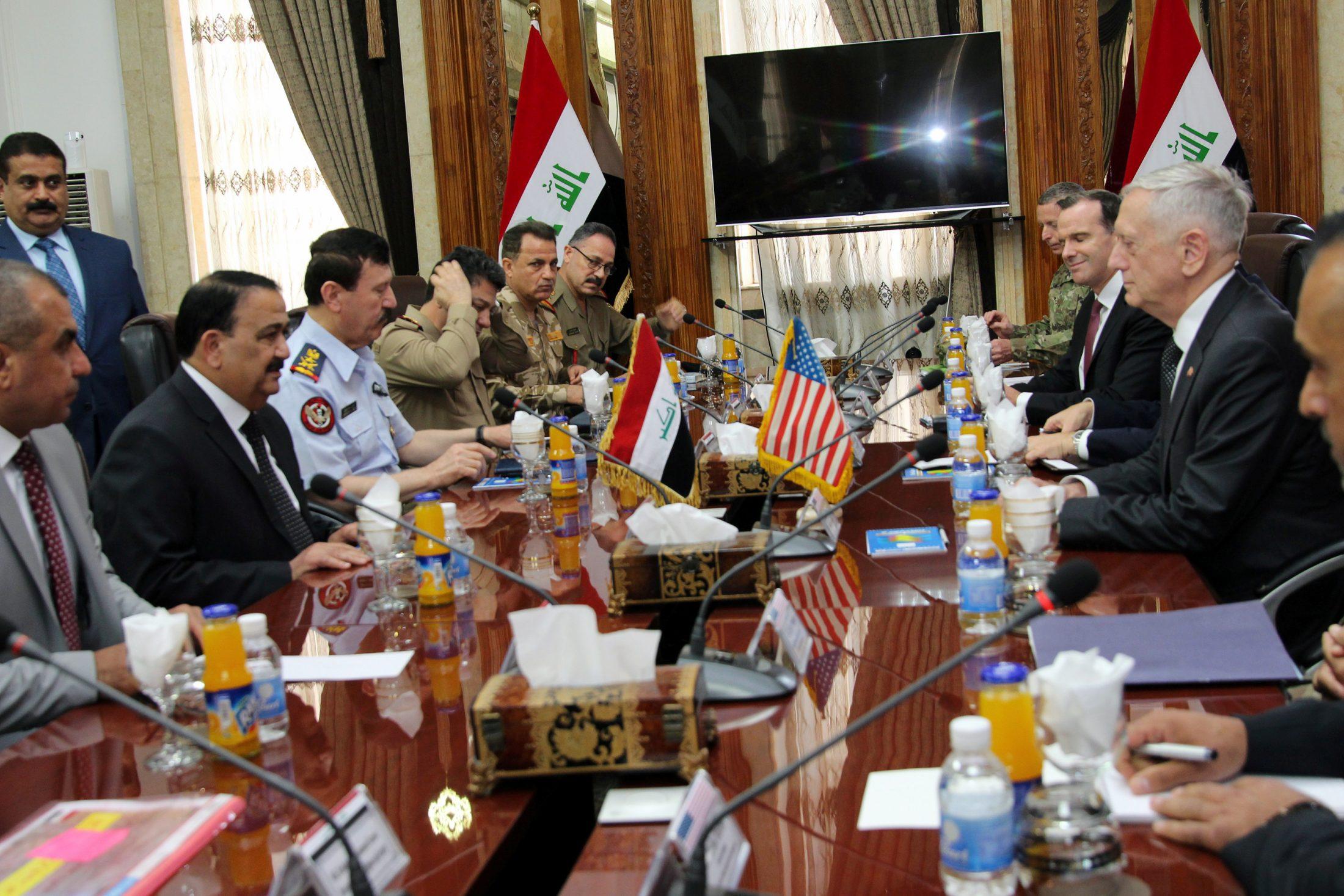 U.S. Defense Secretary Jim Mattis meets with Iraq's Defence Minister Erfan al-Hiyali, in Baghdad, Iraq. Photo by Reuters