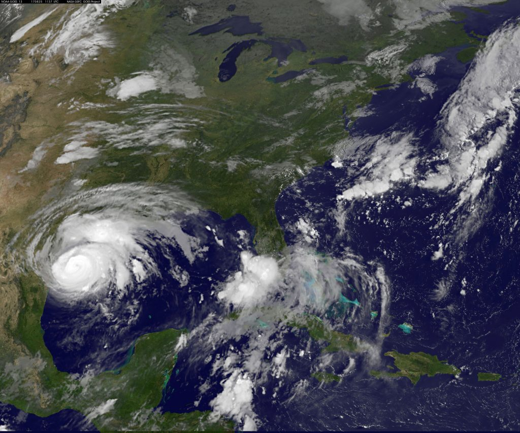 Hurricane Harvey approaches the Texas Gulf coast in this NOAA GOES East Satellite image taken on Aug. 25. NOAA/Handout via Reuters