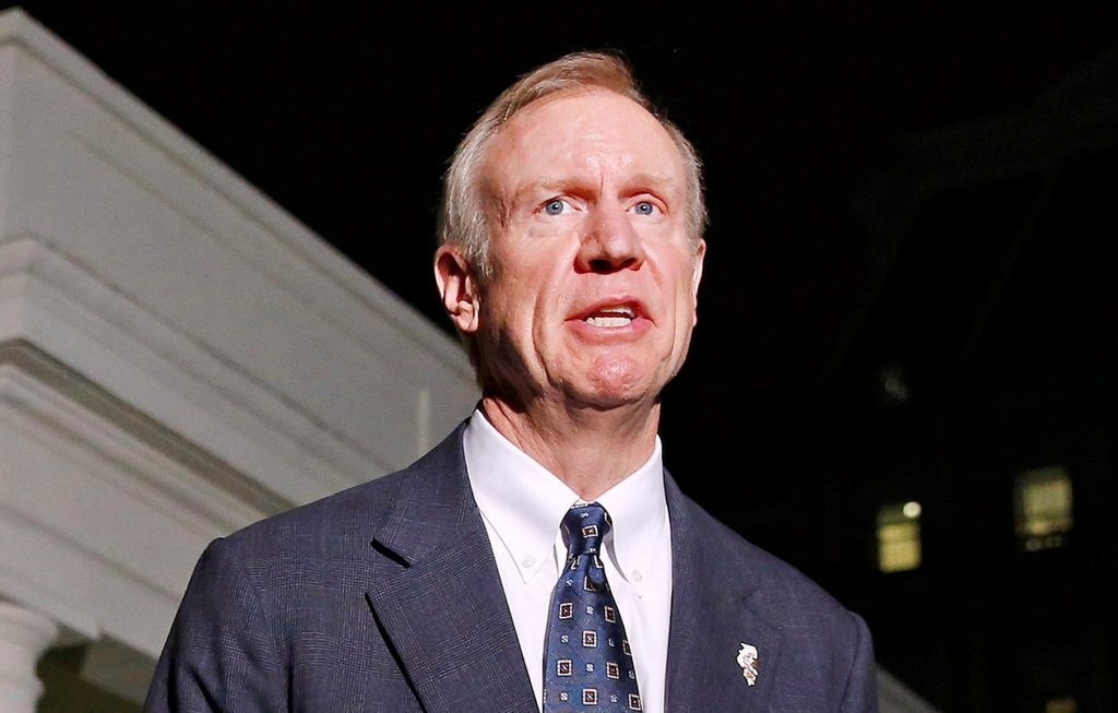 Illinois Gov.-elect Bruce Rauner speaks to the media after a meeting with then-President Barack Obama from seven U.S. states at the White House in Washington, D.C. in 2014. Photo by Larry Downing/Reuters