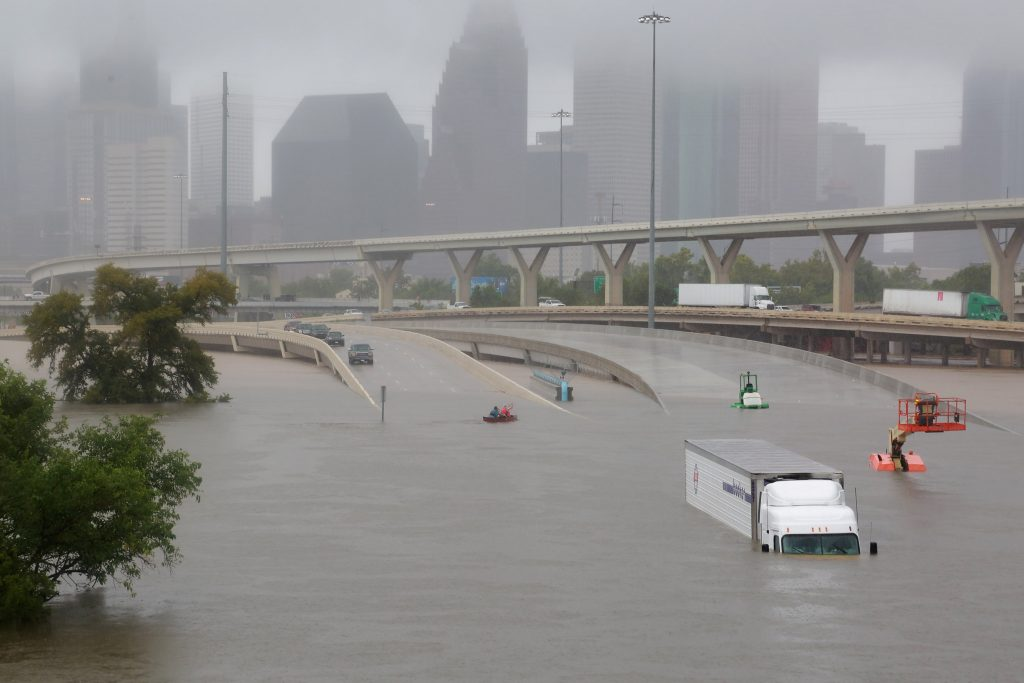 Houston's Interstate highway 45 is flooded on Aug. 27. Photo by Richard Carson/Reuters