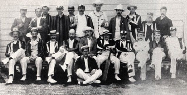1903: The cricket team, with JM Barrie (third from right in front row)