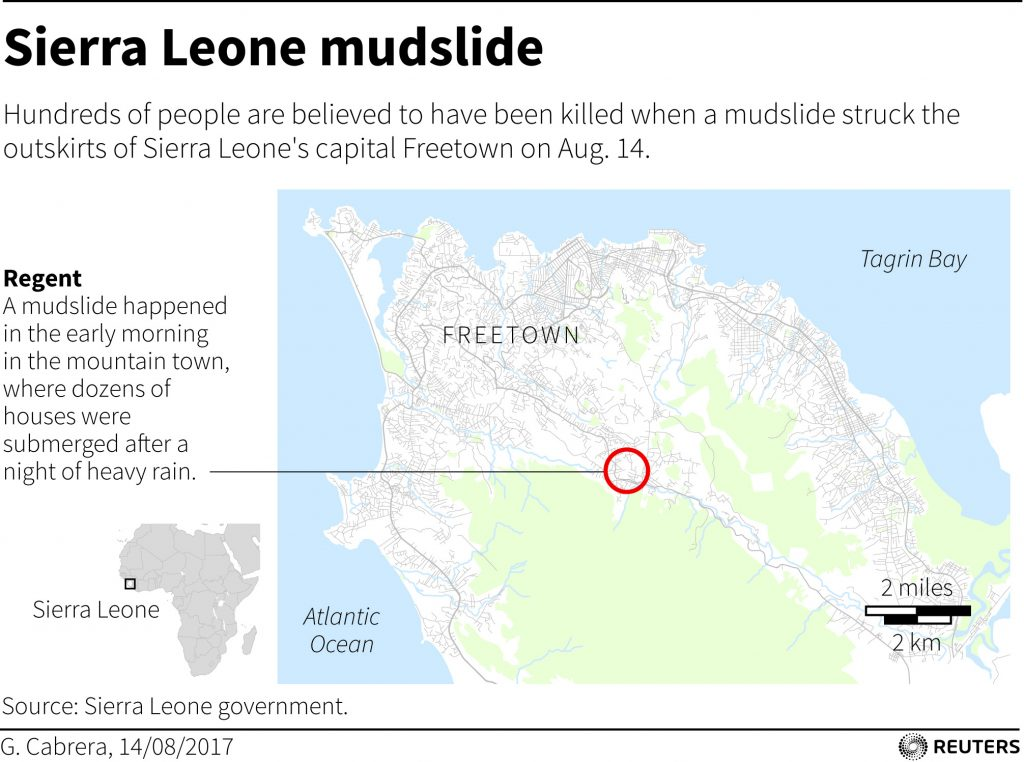Map of Aug. 14 mudslide in Sierra Leone by Reuters