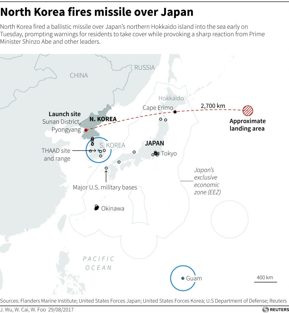 North Korea missile map by Reuters