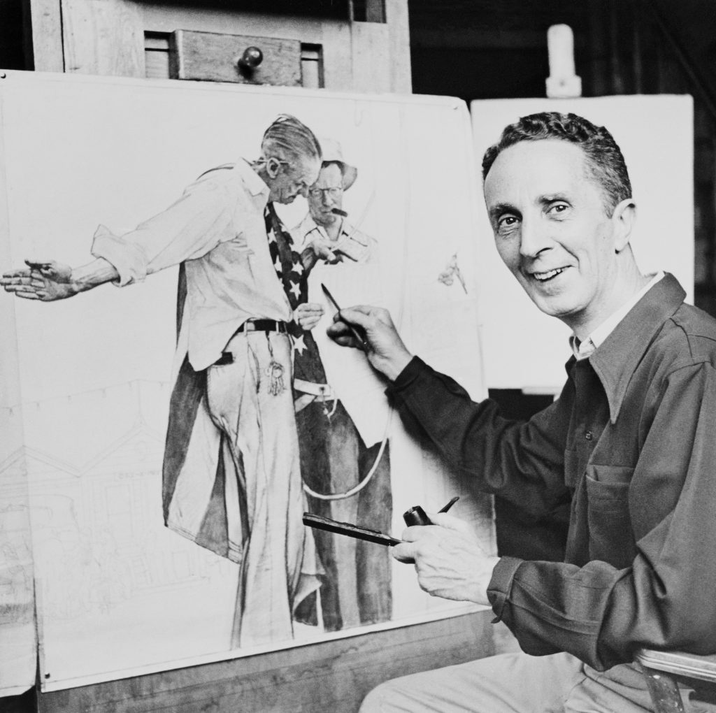 12/8/1950-ORIGINAL CAPTION READS: Hardly a magazine reader is unfamiliar with the name of Norman Rockwell and his engaging human interest paintings. It takes many hours of concentrated work in his studio to produce these popular illustrations.