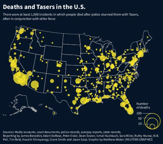 A map by Reuters shows where the more than 1,000 Taser-related deaths it tracked occurred. Photo by Reuters.