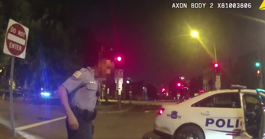 A still from the body camera footage released by D.C. police weeks after officer Brian Trainer shot and killed motorcyclist Terrence Sterling after a traffic stop in 2016.