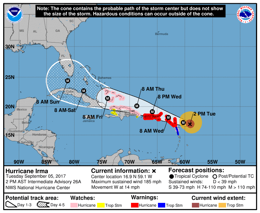 National Hurricane Center forecast of coastal watches and warnings for Hurricane Irma as of 4 pm E.T. Image by National Hurricane Center/NOAA