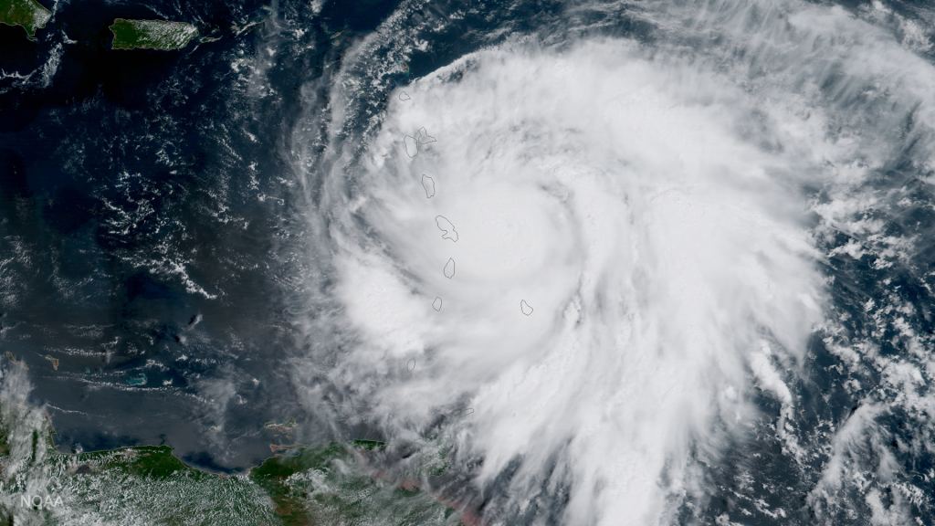 NOAA's GOES-16 satellite captured this image of Hurricane Maria approaching the Leeward Islands on September 18, 2017.