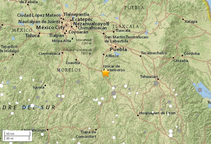 map of the epicenter star of a magnitude 71 earthquake that hit near the