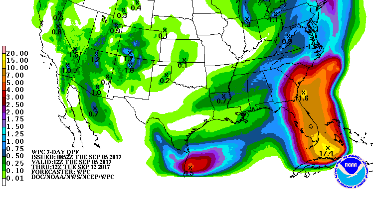 Seven-day cumulative rainfall forecast. Image by NOAA/Weather Prediction Center