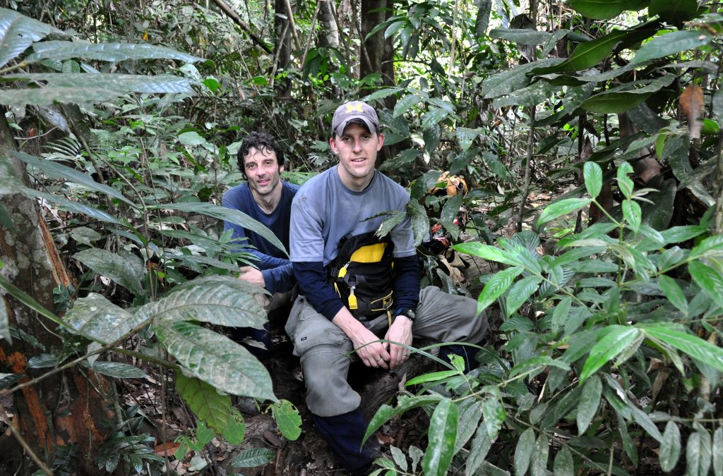 Alessandro Baccini and Wayne Walker during a forest measurement campaign in Vietnam. Photo by Juliana Splendore