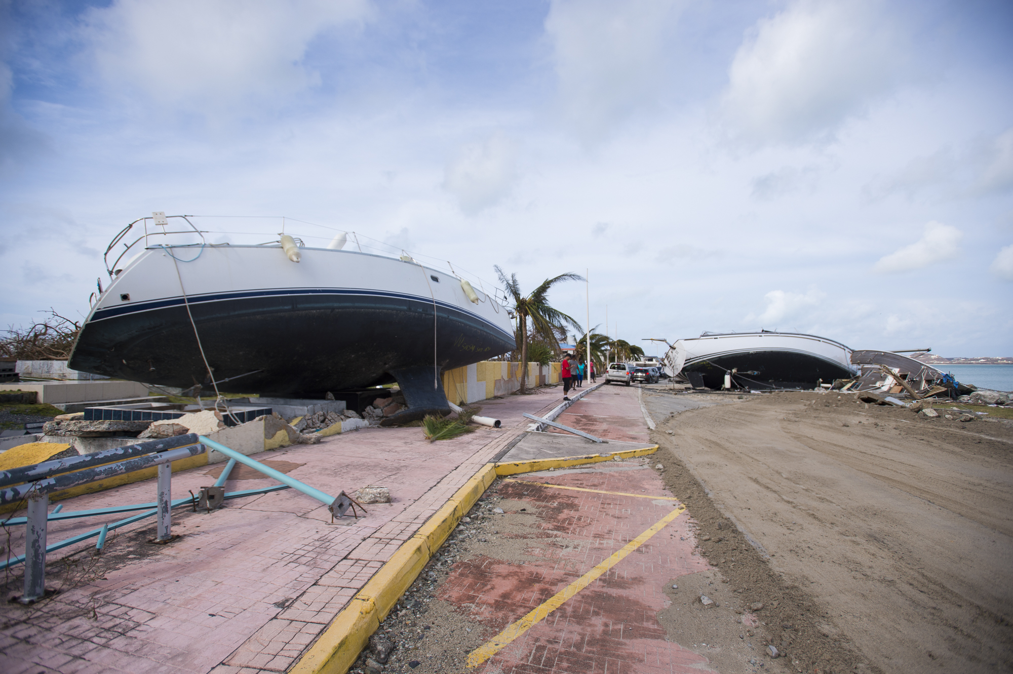 Some ships washed ashore in Saint-Martin in the northeast Caribbean, after the passage of Hurricane Irma. Photo by Lionel Chamoiseau/AFP/Getty Images