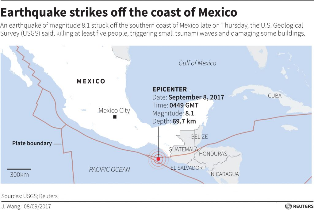map locating earthquake off the coast of mexico chart by reuters