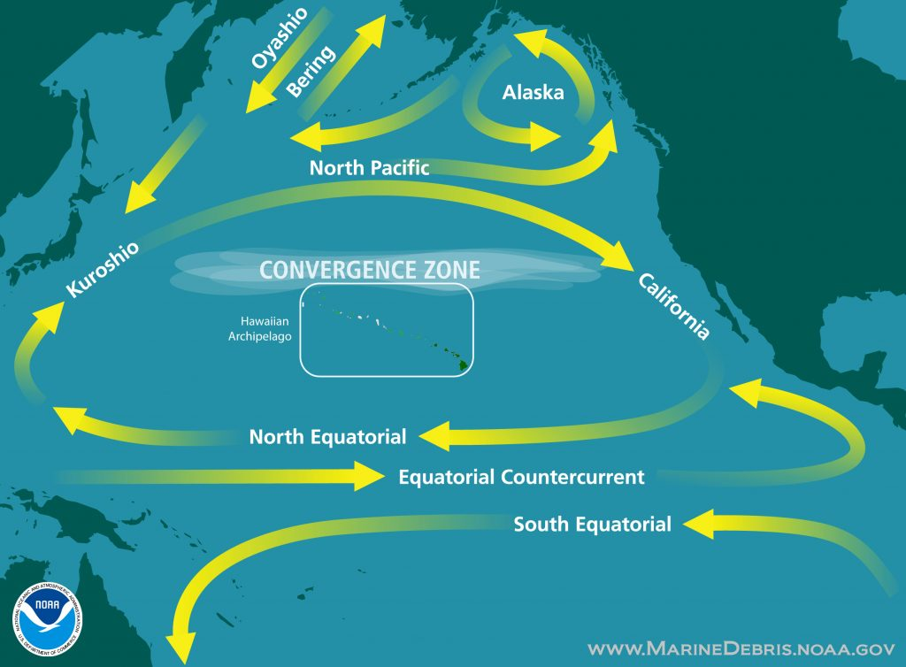Map of North Pacific Ocean currents. Radiation from the Fukushima disaster took more than two years to cross from Japan to the West Coast. Chart by NOAA