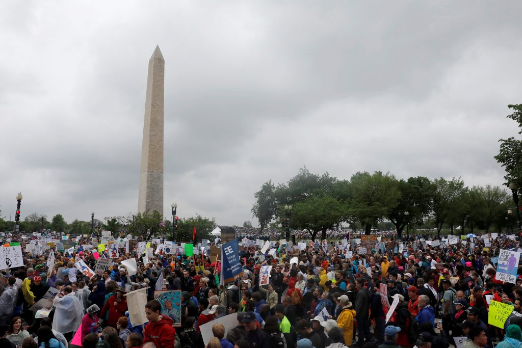 Demonstrators gather at the Washington Monument before marching to the U.S. Capitol during the March for Science in Washington