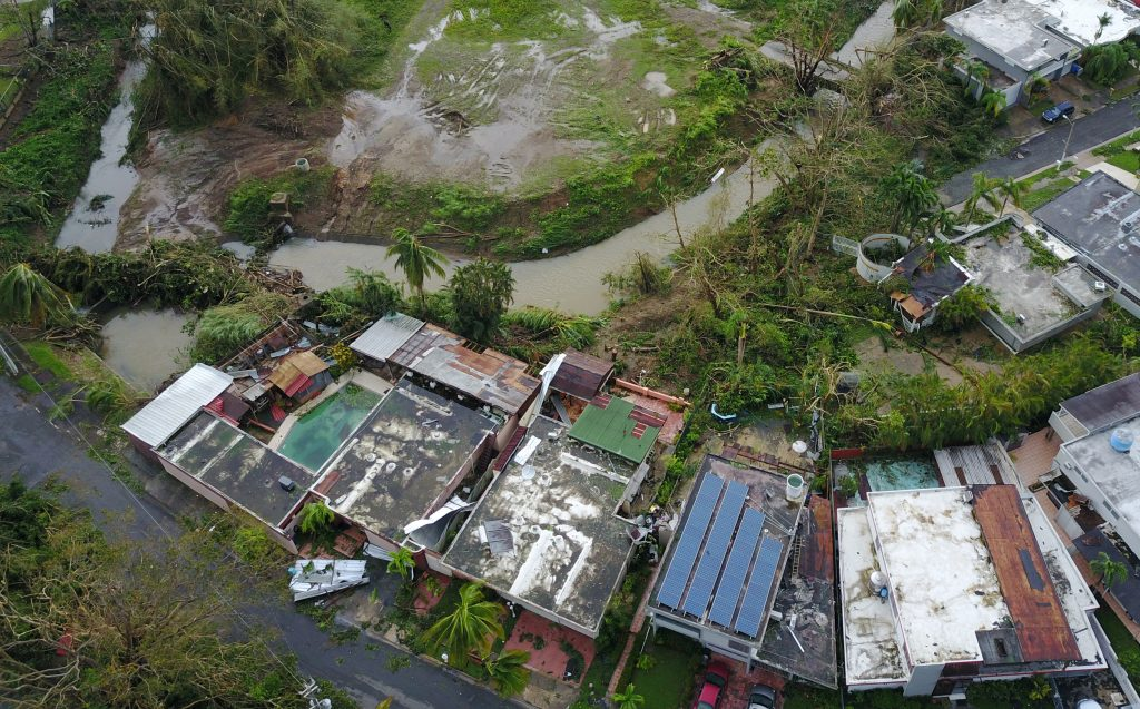 An aerial photo shows damage caused by Hurricane Maria in San Juan Puerto Rico