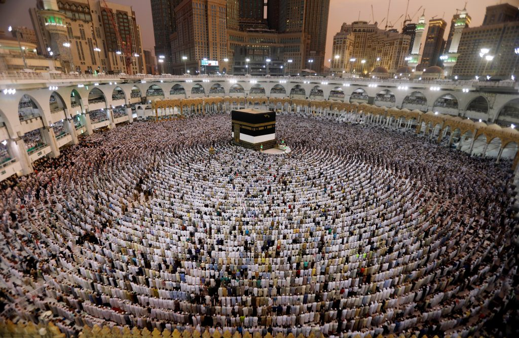 Muslims pray at the Grand mosque ahead of the annual Haj pilgrimage in Mecca, Saudi Arabia