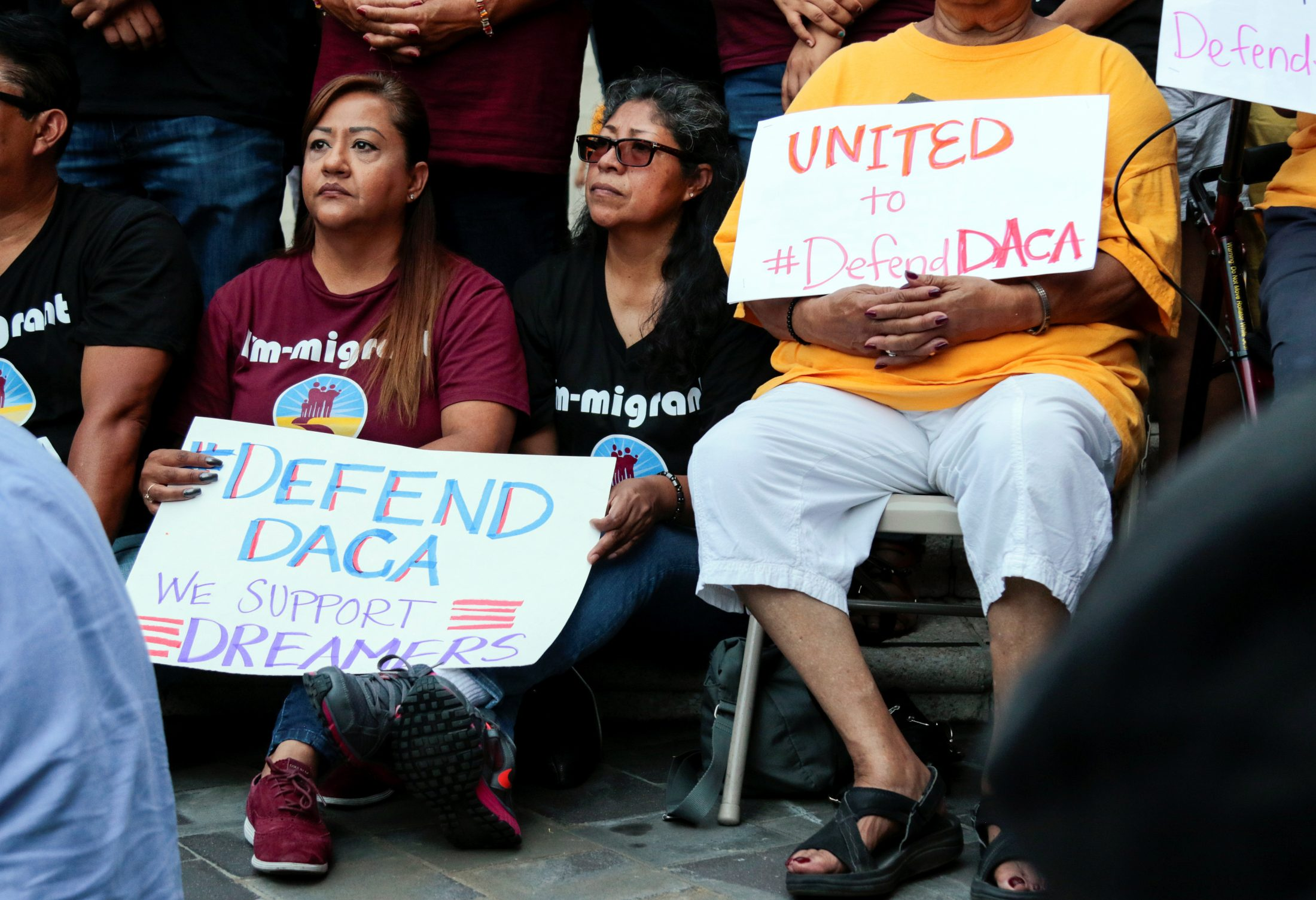 Elena (L), the parent of a Deferred Action for Childhood Arrivals (DACA) program during a rally outside the Federal Building in Los Angeles, California. Photo by Kyle Grillot/Reuters