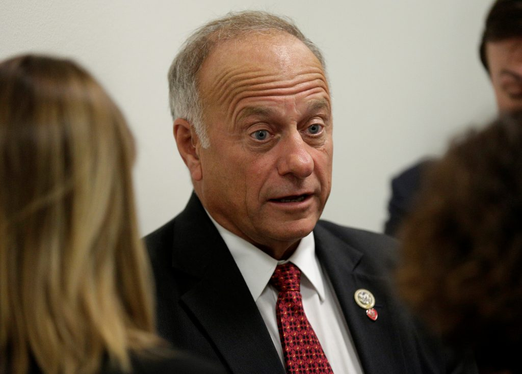 Rep. Steve King (R-IA) speaks to reporters about DACA and immigration legislation on Capitol Hill in Washington, U.S., September 6, 2017. REUTERS/Joshua Roberts - RC120C7F1EC0