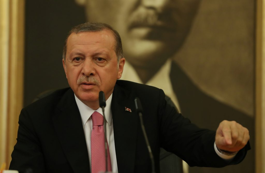 Turkish President Recep Tayyip Erdogan speaks during a news conference at Ataturk International Airport in Istanbul, Turkey, on Sept. 8. Photo by Osman Orsal/Reuters