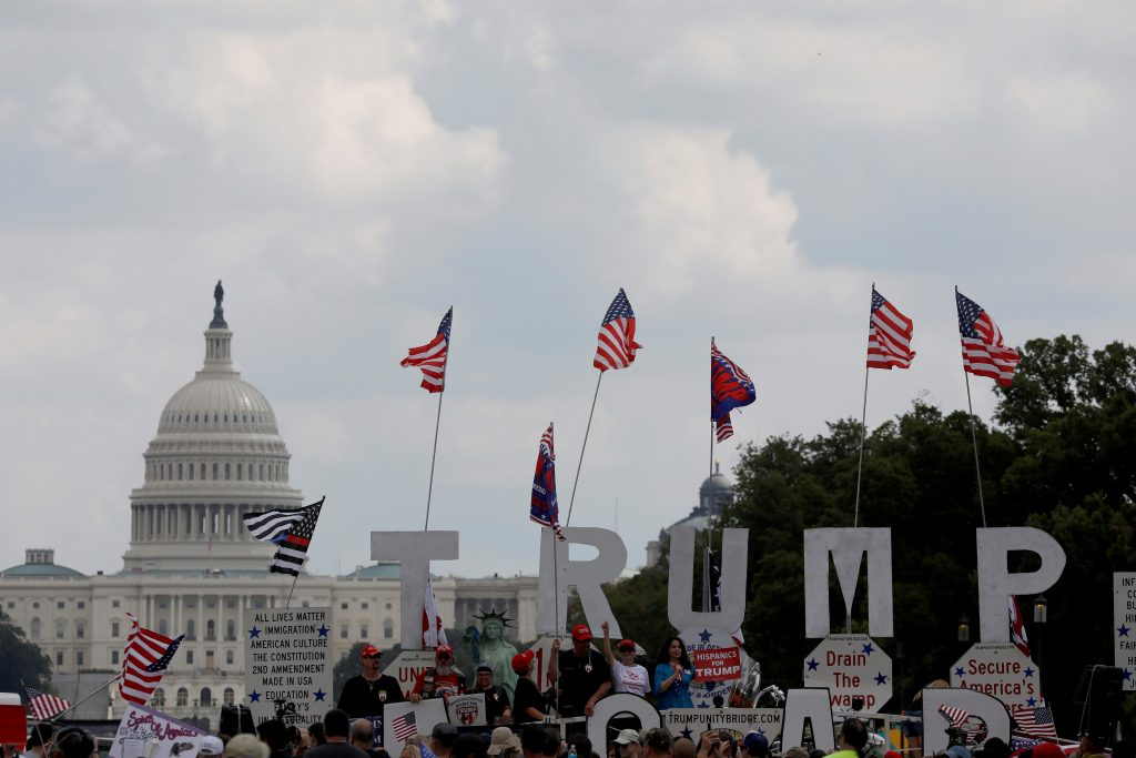 Activists gather on the Trump Unity Bridge during Mother of All Rallies demonstration in Washington