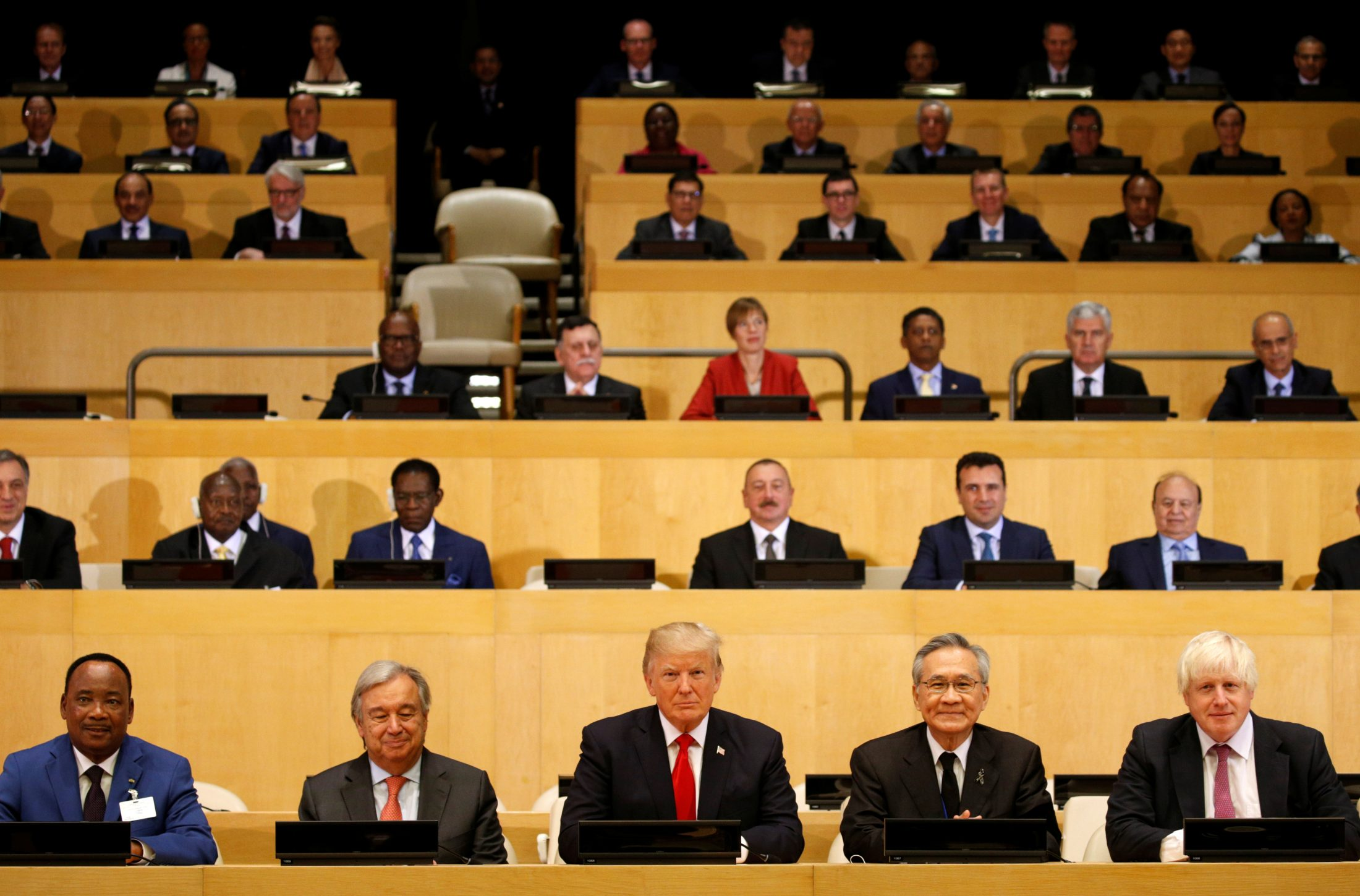 U.S. President Donald Trump participates in a session on reforming the United Nations at UN Headquarters in New York. Photo by Kevin Lamarque/Reuters