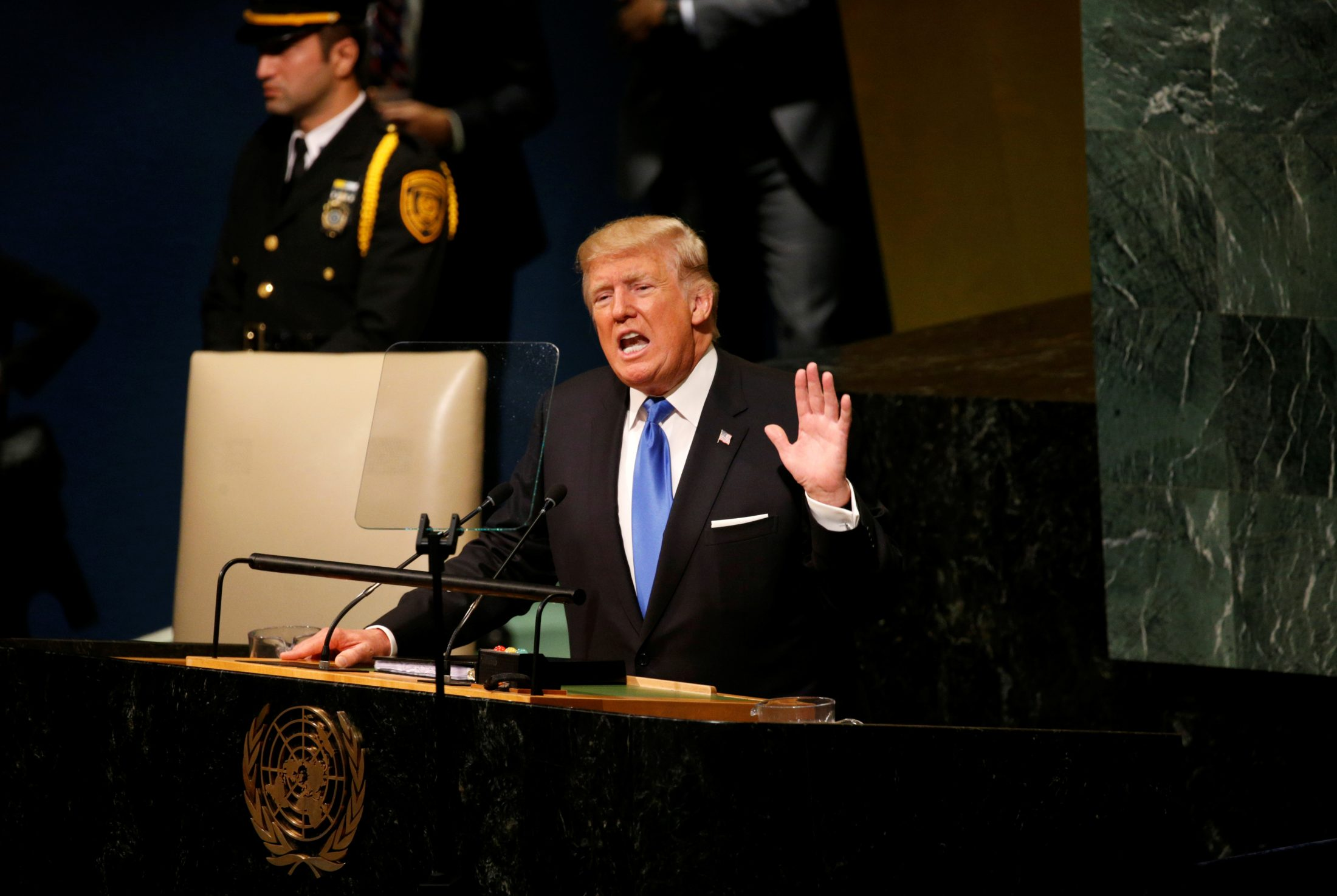 President Donald Trump delivers his address to the United Nations General Assembly in New York. Photo by Kevin Lamarque/Reuters