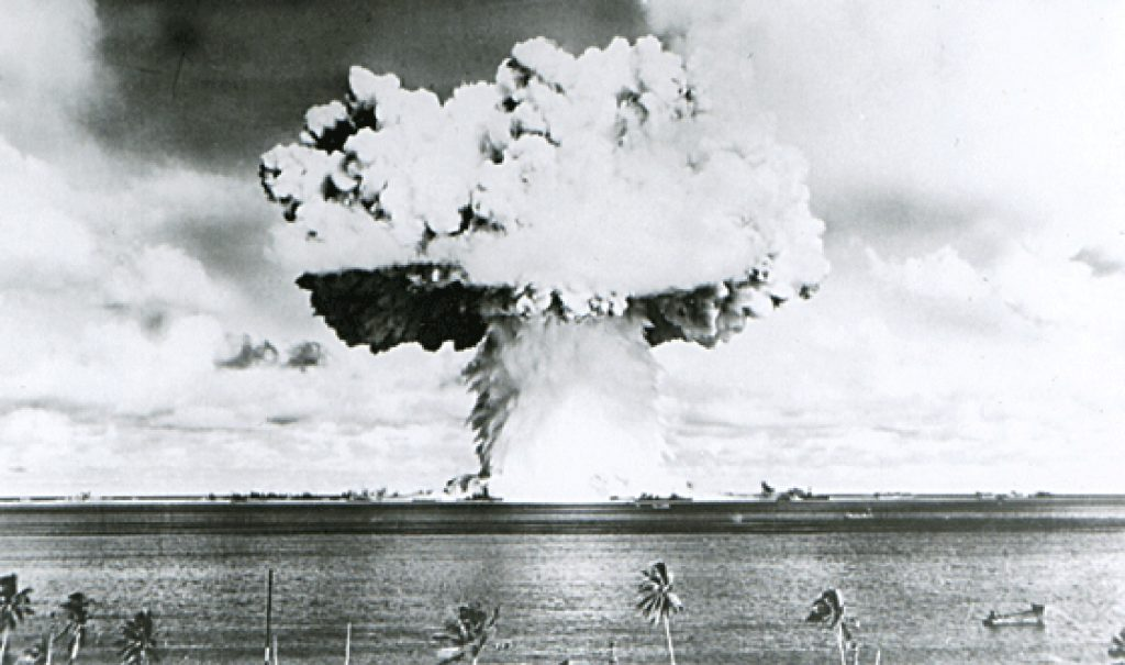 This U.S. Navy handout image shows Baker, the second of the two atomic bomb tests, in which a 63-kiloton warhead was exploded 90 feet under water as part of Operation Crossroads, conducted at Bikini Atoll in July 1946 to measure nuclear weapon effects on warships. Photo by REUTERS/U.S. Navy/Handout via Reuters