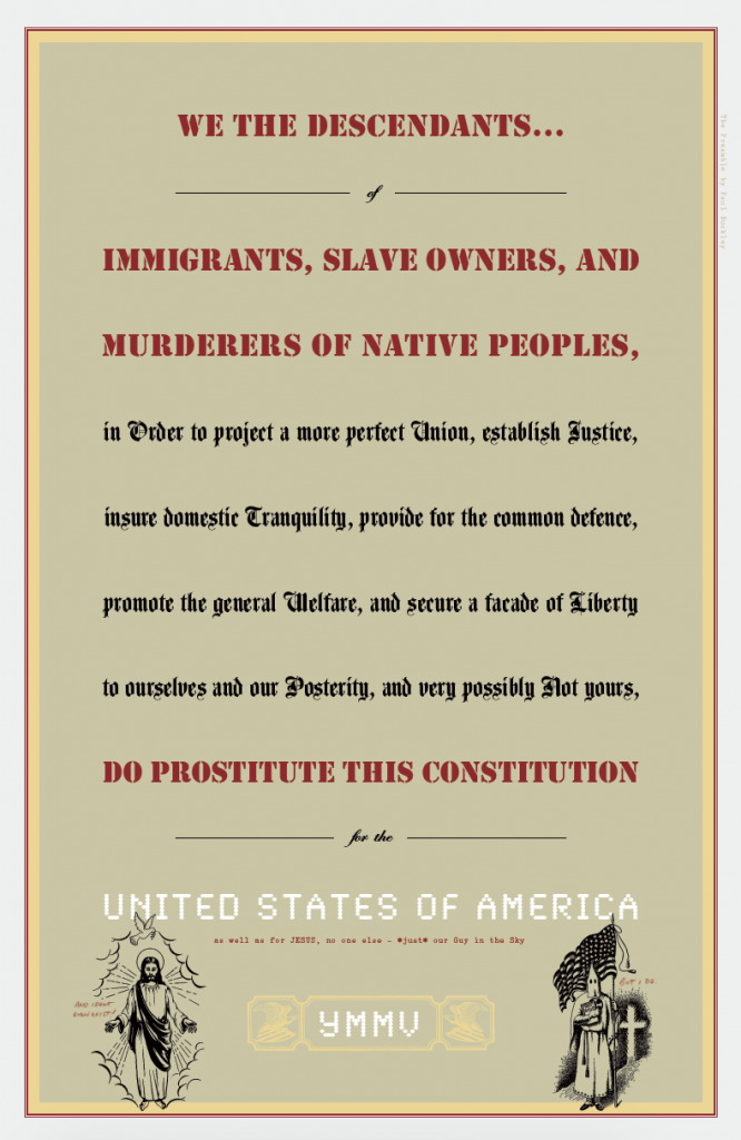 A poster reimagining the Preamble to the U.S. Constitution. Credit: Paul Buckley