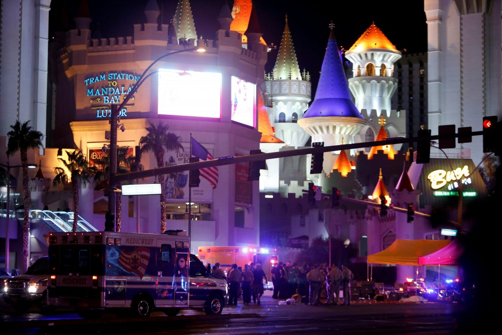 Police gather at the intersection of Tropicana Avenue and Las Vegas Boulevard South after a mass shooting at a music festival on the Las Vegas Strip on Oct. 1. Photo by Las Vegas Sun/Steve Marcus via Reuters