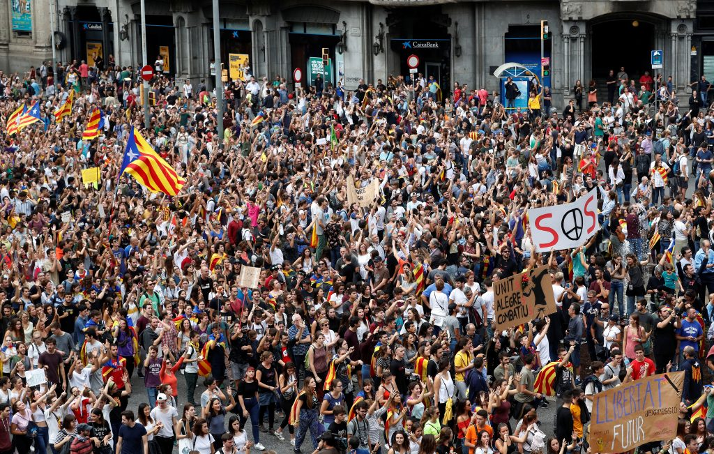 Protests continued in Barcelona days after the Catalonia independence referendum. Photo by Yves Herman/Reuters