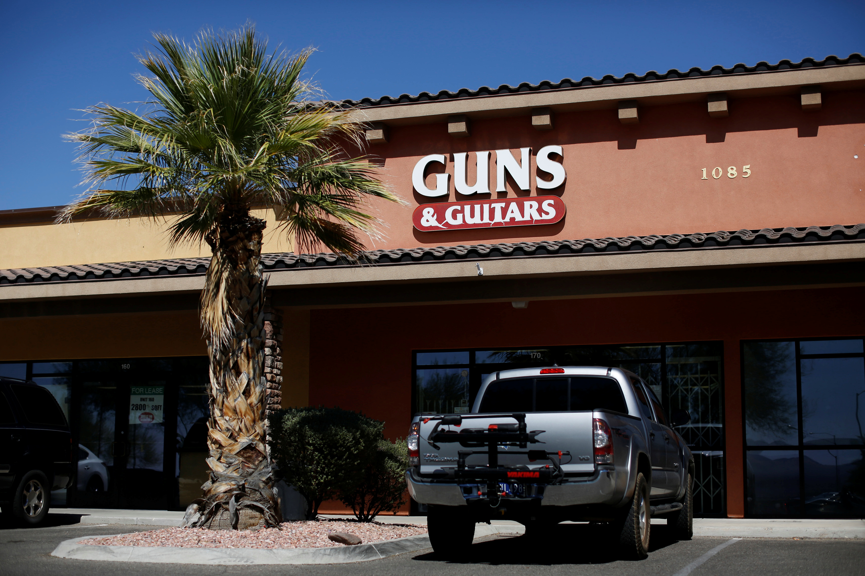 The Guns & Guitars shop where Stephen Paddock, the gunman who attacked the Route 91 Harvest Country Music Festival in a mass shooting in Las Vegas, was a customer, is pictured in Mesquite, Nevada, U.S., October 3, 2017. REUTERS/Chris Wattie - RC1B7CC90600