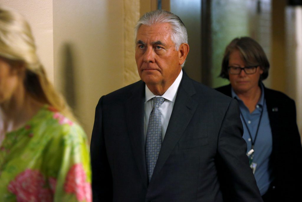 U.S. Secretary of State Rex Tillerson departs after a closed classified briefing for members of the Senate on North Korea and Afghanistan on Capitol Hill in Washington
