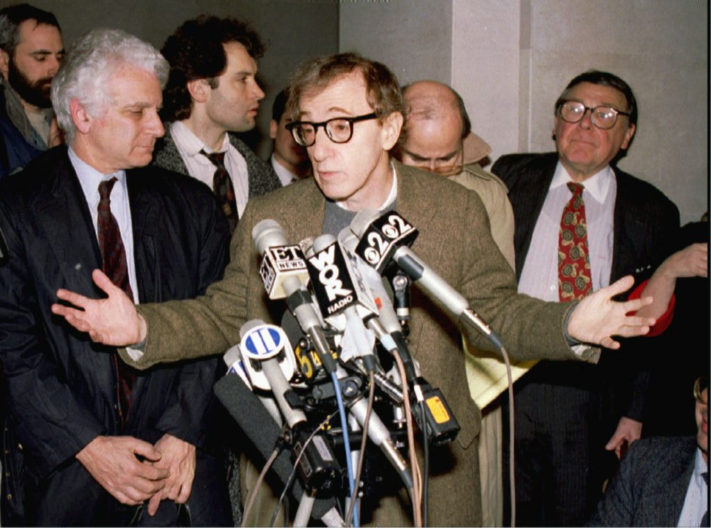Director Woody Allen reacts to reporters questions at an impromptu press conference at Manhatten Federal Court January 12 after Allen appeared at a hearing on the custody of his children following the breakup of his relationship with actress Mia Farrow. Credit: Reuters