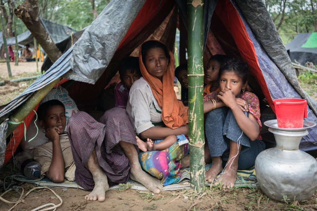 Photo of Rohingya refugees in a makeshift shelter by Phil Caller