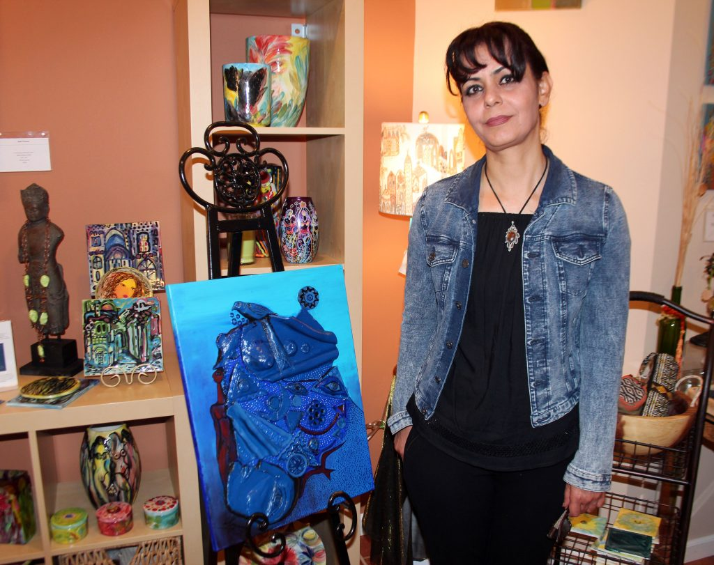 Maysoon Z Al Gburi will have her art shown at the gallery starting Oct. 7. Photo by Larisa Epatko/PBS NewsHour