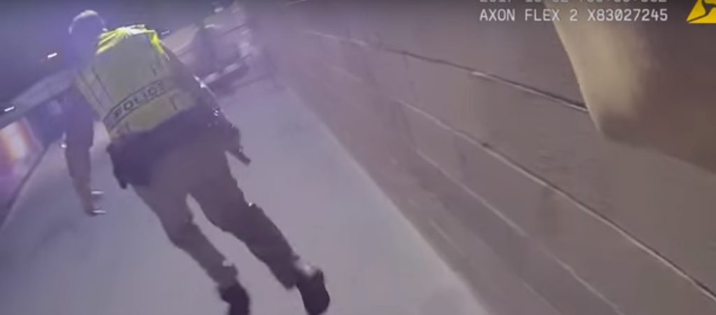 A screen grab from body camera footage released by Las Vegas police officers.