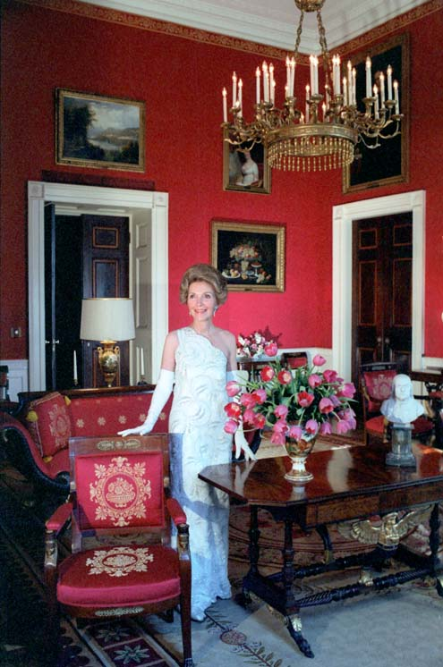 Nancy Reagan poses for Vogue magazine in the White House Red Room in 1981.
