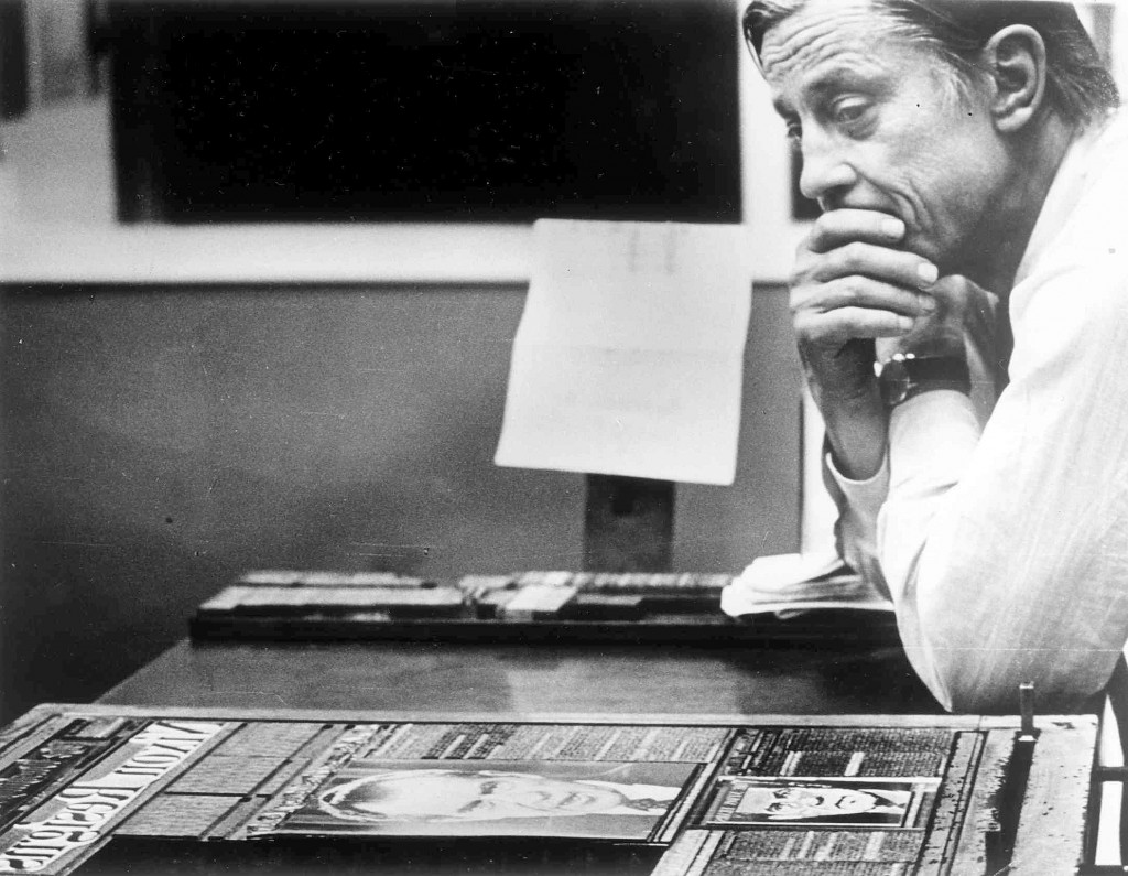 "The Wshington Post's Ben Bradlee in the composing room looking at A1 of the first edition, headlined ""Nixon Resigns."" Photo by David R. Legge/The Washington Post via Getty Images"